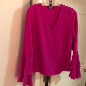 Sugar lips Pink V-Neck top with belled sleeves